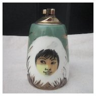 Vintage Matthew Adams Eskimo Face Pottery Cigarette Lighter/Alaska Series