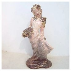 Vintage Hedi Schoop Figurine Oriental Lady with Flowers