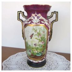 Antique Victorian Maroon Vase with Handles, Hole in Bottom,  Scene with Butterflies and Flowers