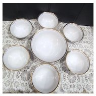 Hand Painted Set of Dessert Bowl with Six Individual Bowls