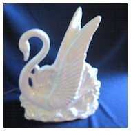 White Opalescent Swan Television Lamp