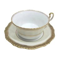 Royal Bayreuth Cup and Saucer Trimmed in Gold