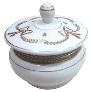 Porcelain Hinged Lidded Round Vanity Box