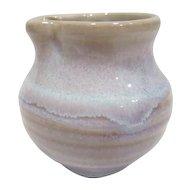 Small Clay Glazed Pitcher Light Beige & Blue