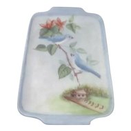 Small Hand Painted Porcelain Tray with 2 Bluebirds