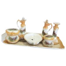 Antique Victorian 6 Piece Ceramic Condiment/Cruet Set on Tray with Ring Necked Pheasant