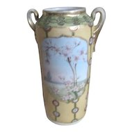 Nippon Two-Handled Hand Painted Vase with Cherry Blossoms