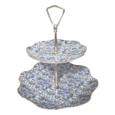 Lefton Two-Tiered Serving Platter in Blue Paisley Design