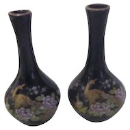 Pair of Miniature Kutani Cobalt Blue Vases with Peacock Scene