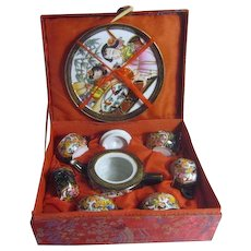 Miniature Chinese Tea Set in Brocade Covered Box