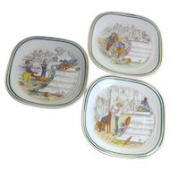 Set of 3 PV Musical Scene Square Plates