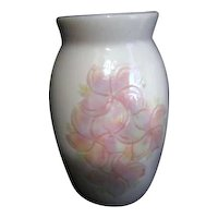 Dorothy Kuomoto of hawaii Porcelain Vase with Etched Plumeria