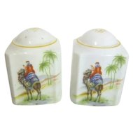 Hand Painted Japanese Salt & Pepper Shakers Featuring Desert Oasis Scenes