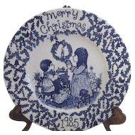 1985 Christmas Plate Blue & White Staffordshire England