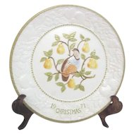 Partridge in Pear Tree Christmas Plate by Metlox Potteries