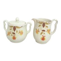Jewel Tea Autumn Leaves Pattern Sugar and Creamer