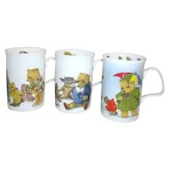 Set of 4 Fine Bone China Teddy Bear Mugs Made in England