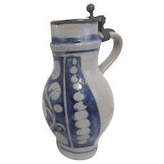 Antique Handmade Salt Glaze Grey Pitcher with Pewter Lid Blue & Grey Decorations