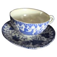 Japanese Blue & White Phoenix Cup and Saucer