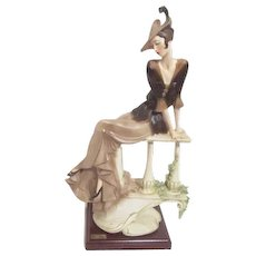 Vernetti Sculpture of Woman Seated on Garden Bench