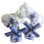 Two Pair of Blue & White Delft-Style Salt & Pepper Shakers