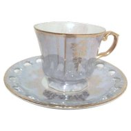 Set of 6 Luster Blue Cups & Saucers by Gold China of Japan