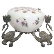 Ceramics by Frances of San Gabriel Vase with silver Plated Stand by Godinger