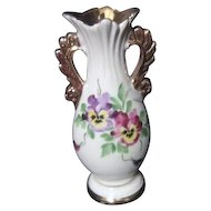 "6"" Tall Cream colored Vase with Pansies Trimmed in Gold"
