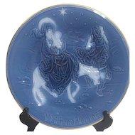 Blue 1977 Christmas Plate by Heinrich Porzellan (Porcelain) Flight to Egypt