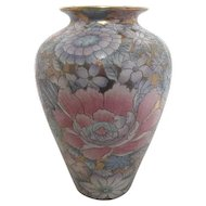 SPI Accents Collection Gilded Vase with Chrysanthemums Hand Painted in Macao