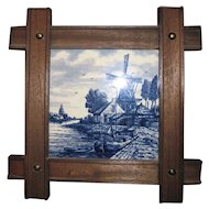 Framed Tile of Delft Blue & White Windmill and Boat Scene