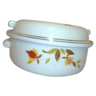 Jewel Tea Autumn Leaves Pattern Lidded Casserole Dish