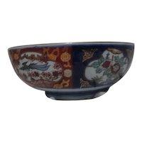 Japanese Imari Style Blue and Orange Bowl with Gold Trim