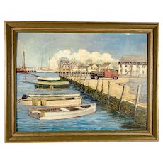 John W Dawson Seascape Oil Painting Rhode Island Wickford Dock 1961