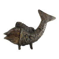 African Mid Century Modern Benin Bronze Fish Sculpture