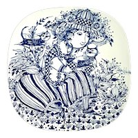 Bjorn Wiinblad Nymolle Denmark Louise with Cats Wall Plate