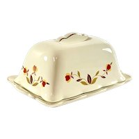 Hall China Jewel Tea Autumn Leaf One Pound Butter Dish with Lid