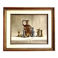 Roberto Lupetti (1918 - 1997) Original Oil Painting Still Life with Chess Pieces