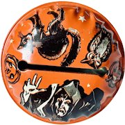 Vintage Tin Toy Halloween Noisemaker US Metal with Witch, Black Cat and Owl