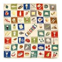 Vintage 1950's Calories Humorous Food Diet Handkerchief, Hankie, Hanky