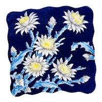 Vintage Blue Cactus Flower Scallop Edge Handkerchief, Hankie, Hanky