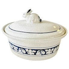 The Potting Shed Dedham Pottery Rabbit Oval Casserole with Lid