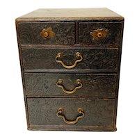 Vintage Japanese Sewing Box (Haribako) 6 Drawer Small Chest