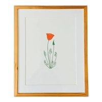Henry Evans Botanical California Poppy Linocut Lt Ed Modernist Print 1973