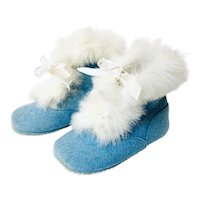 Vintage Blue Baby Doll Shoes with Fur by American Felt Company