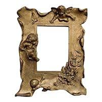 Antique Art Nouveau Cherub Angel Floral Gilt Gold Cast Metal Picture Frame