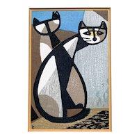 """Original Japanese Woodblock Print"""" Two Cats"""" Inagaki Tomoo"""