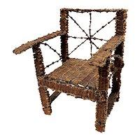 Primitive Folk Art Clove Doll Chair