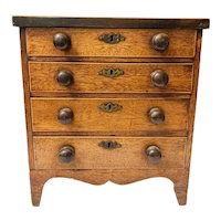 Antique Salesman Sample Miniature 4 Drawer Sheraton Dresser Chest w/lock