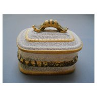 Early Yellow ware and Sanded Match Striker Box , c. late 19th C.